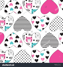 heart wrapping paper childish pattern cat card stock vector 491072881