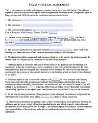 free texas sublease agreement form template u2013 adobe pdf