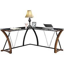 L Desk Staples Wood Glass Computer Desk Whalen Newport Wood And Glass Desk