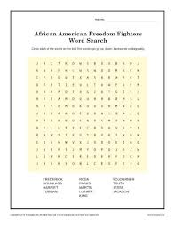 freedom fighter u0027s word search black history month worksheets