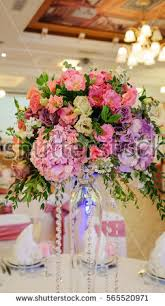 Wedding Flowers For Guests Hydrangea Floral Arrangement Vase Stock Photo 63262783 Shutterstock