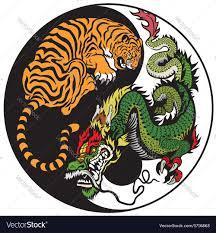 yin yang and tiger symbol royalty free vector image