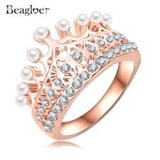 aliexpress buy beagloer new arrival ring gold beagloer princess crown ring gold color austrian