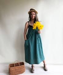 linen sundress linen strap dress womens sundress linen jumper