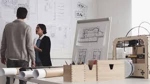 architect designer working desk with equipment architectural