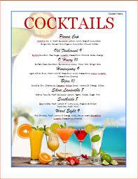 7 cocktail menu template procedure template sample