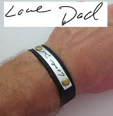 personalized fathers day gifts day gift mens personalized leather bracelet handwriting mens