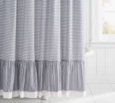 Ruffled Shower Curtains Mini Stripe Ruffled Shower Curtain Pottery Barn