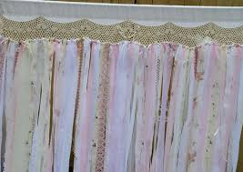 shabby chic curtain wedding curtain backdrop ribbon vintage lace