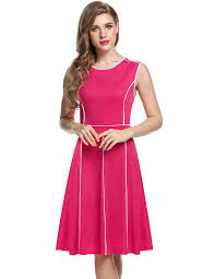 sleeveless contrast color pleated fit and flare party dress