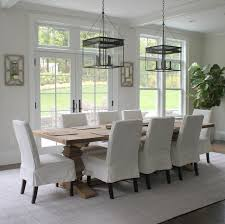 Salvaged French Doors - reclaimed wood trestle dining table transitional dining room