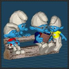 smurfs diorma bench free papercraft download http www