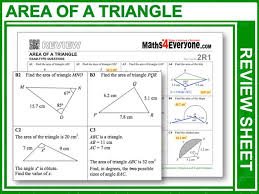 area of a triangle gcse revision by maths4everyone teaching