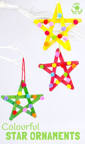 colourful pom pom popsicle stick stars christmas tree nursery