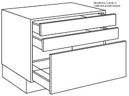 meuble cuisine tiroir coulissant meuble bas 2 tiroirs et 1 coulissant