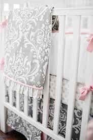 Pink And Gray Comforter Emma Damask Crib Bedding Set Rosenberryrooms Com