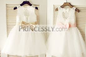 bow belt keyhole ivory lace tulle wedding flower girl dress chagne pink