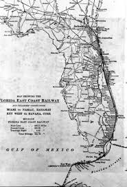 New York Central Railroad Map by Early Florida East Coast Railway Information