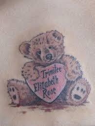 teddy bear tattoos teddy bear with her baby u0027s name in a heart