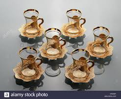 set of six empty tulip shaped cups of tea tea cup with