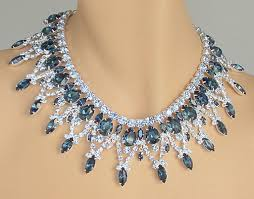 swarovski crystal necklace sets images Swarovski austrian crystal montana and light sapphire rhinestone JPG