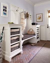 Beadboard Bench - mudroom bench entry traditional with basketweave floor beadboard