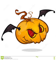 cartoon pumpkin head with bat wings flying and screaming vector