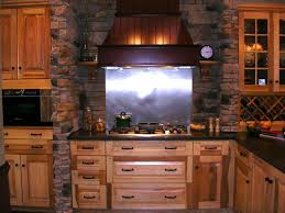 Copper Backsplash Kitchen Interior Design Charming Brick Backsplash With Wine Cellar And