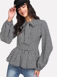 houndstooth blouse bell blouses