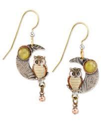 silver forest earrings tri tone owl crescent moon drop earrings