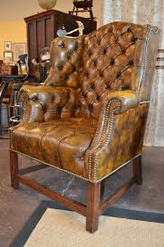 Leather Tufted Chair Mottled Leather Hancock U0026 Moore Tufted Library Wing Chair
