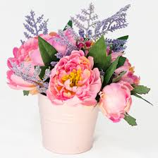 silk arrangements for home decor pink silk peony arrangement bud silk flowers in metal by flovery