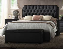 awesome black leather platform bed with tufted headboard advice
