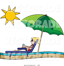 Clip On Umbrellas For Beach Chairs Vector Of A Blond Stick Resting In A Lounge Chair On The