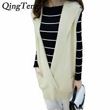 aliexpress com buy qingteng women u0027s hooded cashmere sweater vest