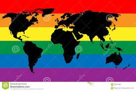 Rainbow Pride Flag Black World Map Silhouette On Lgbt Rainbow Pride Flag Background