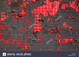 grungy red and black tile and peeling paint wall exceptional