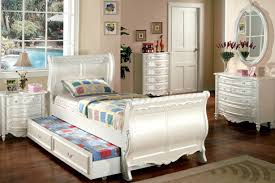 Sleigh Bedroom Furniture Cm7226 Size Sleigh Bed Alexandra Pearl White Finish Youth