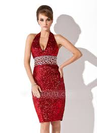 sheath column halter knee length sequined cocktail dress with