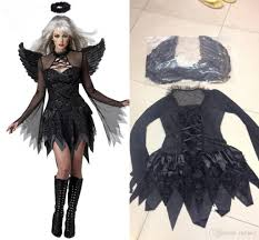 wholesale halloween costume promo codes new black dark devil fallen angel costume with wing