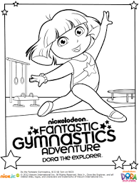 free dora gymnastics printable coloring pages