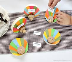 Thanksgiving Place Cards Craft Diy Wood Turkey Place Card Holders Lolly Jane