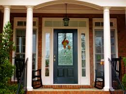 Exterior Wood Doors With Glass Panels by Black Wooden Door With Frosted Glass On The Middle Top Completed