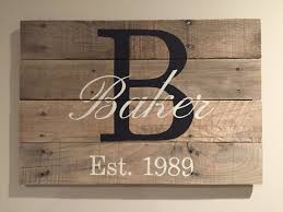 Unique Housewarming Gifts by Family Monogram Pallet Sign Last Name Sign Family Name Sign