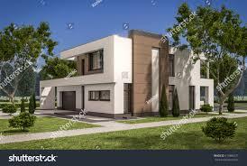 3d rendering modern cozy house garage stock illustration 519386275