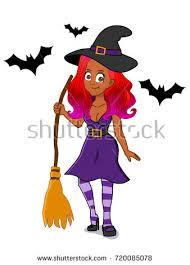 African Halloween Costumes African American Halloween Witch Costume Stock Vector 718967914