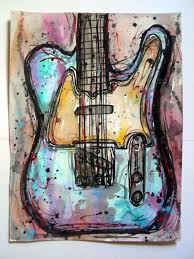 fender telecaster electric guitar watercolor by visionaryvisage