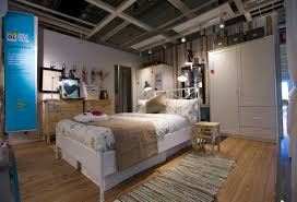 marvelous ikea showroom design ideas with white wooden beds frame