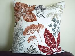 pillow cover white burgundy red brown black grey beige leaves