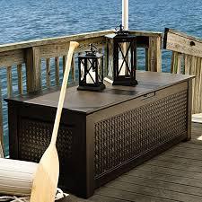 rubbermaid patio chic 136 gallon resin deck box u0026 reviews wayfair